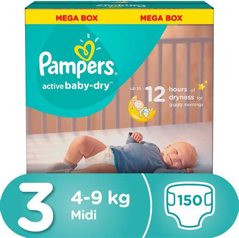 Pampers - Active Baby 150 Nappies - Size 3 Mega Pack | Buy