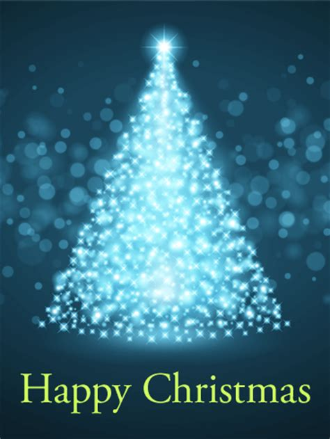 Glowing Christmas Tree Card | Birthday & Greeting Cards by